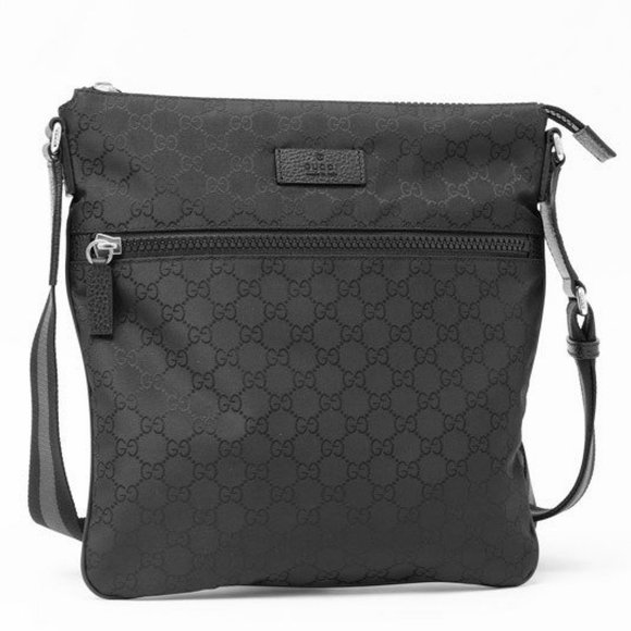 Gucci Black Nylon GG Guccissima Web Crossbody Bag